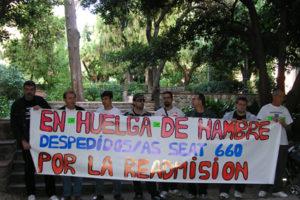 Los despedid@s por SEAT, CCOO y UGT continuan la huelga de hambre en la Universitat de Barcelona