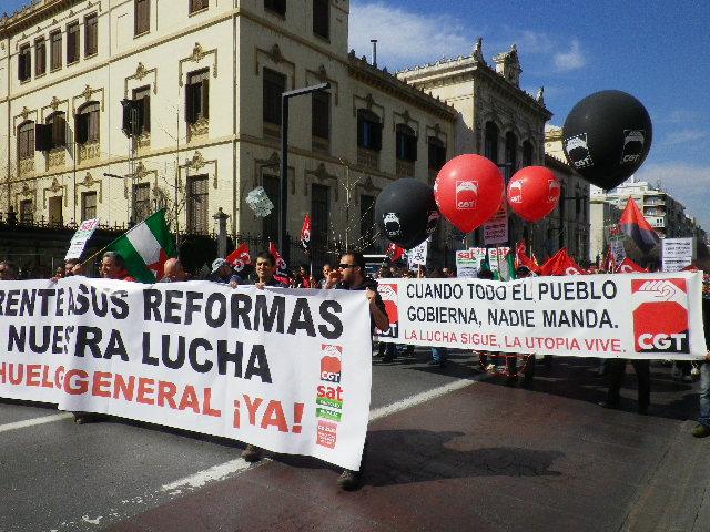 Manifestación 28F en Granada contra la Reforma Laboral y por la Huelga General