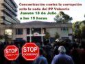 Concentración contra la corrupción ante la sede del PP Valencia