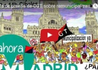 Rueda de prensa de CGT sobre remunicipalización en Madrid