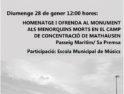 28-E Ciutadella: Actos por la Memoria del Holocausto y la Prevención de los Crímenes contra la Humanidad