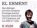 Detenido el Secretario General de la CGT de Catalunya, Ermengol Gassiot