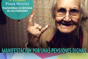 En apoyo a la convocatoria de manifestación de la Plataforma en Defensa de las Pensiones Públicas para este sábado 17 de marzo