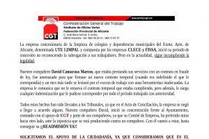 UTE-Limpal (concesionaria de limpieza del Ayto. de Alicante) explota, acosa y despide. Readmisión ya del compañero David Camarasa