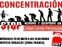 CGT convoca una concentración contra el acoso laboral y la represión sindical en Global Center Peninsular