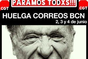 Huelga 2, 3 y 4 de junio en Correos en toda la provincia de Barcelona