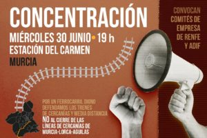 Concentración «No al cierre del cercanías Murcia-Lorca»