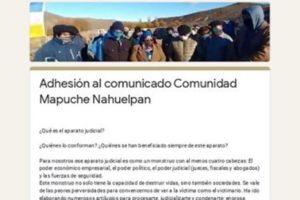 Adhesión al comunicado Comunidad Mapuche Nahuelpan