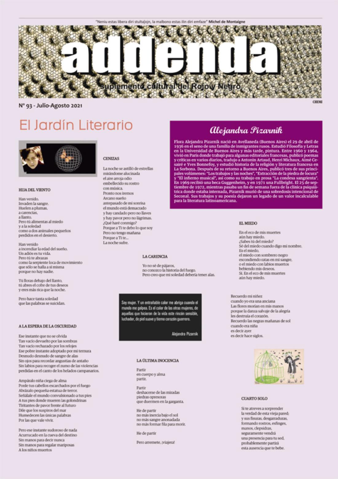 Addenda, suplemento cultural del RyN – Nº 93, julio-agosto 2021