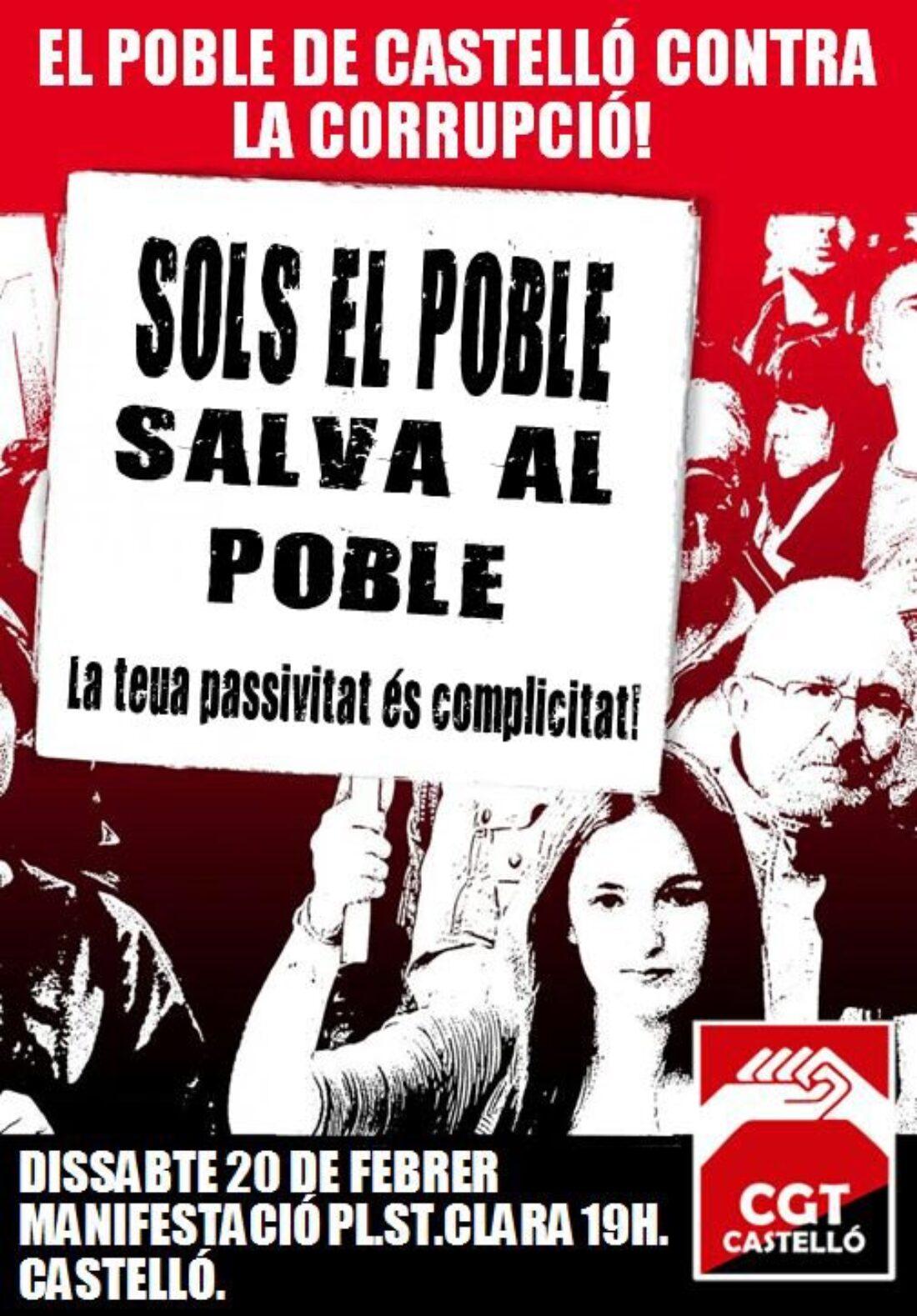 20-f Castelló: Manifestación. ¡El pueblo de Castelló contra la corrupción!