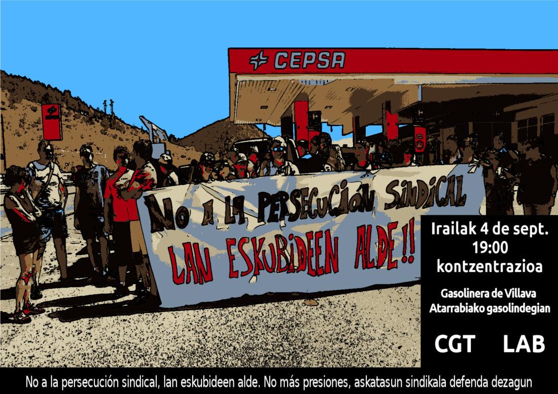 Concentración contra la persecución sindical en la gasolinera de Villava-Atarrabia