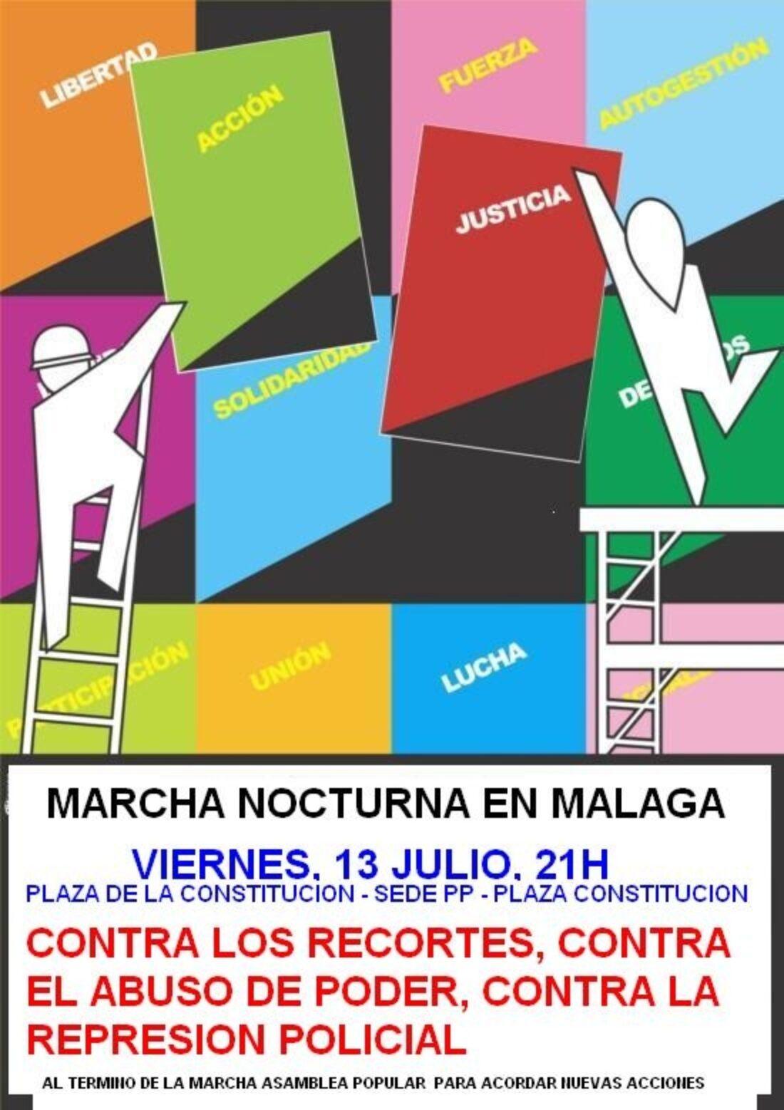 Marcha nocturna en Málaga contra los recortes, el abuso del poder y la represión policial