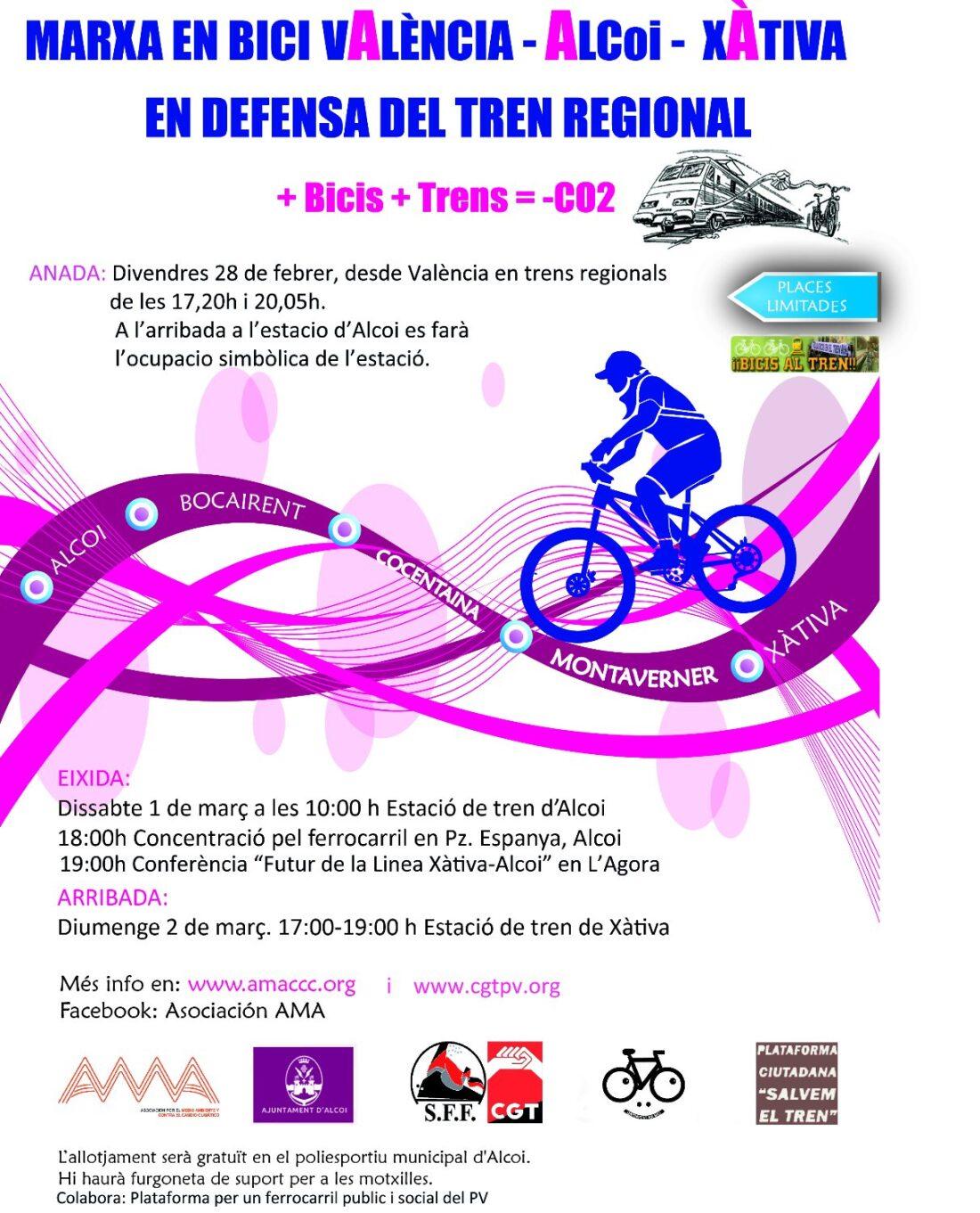 28F: Marcha en bici Valencia-Alcoi-Xàtiva en defensa del tren regional