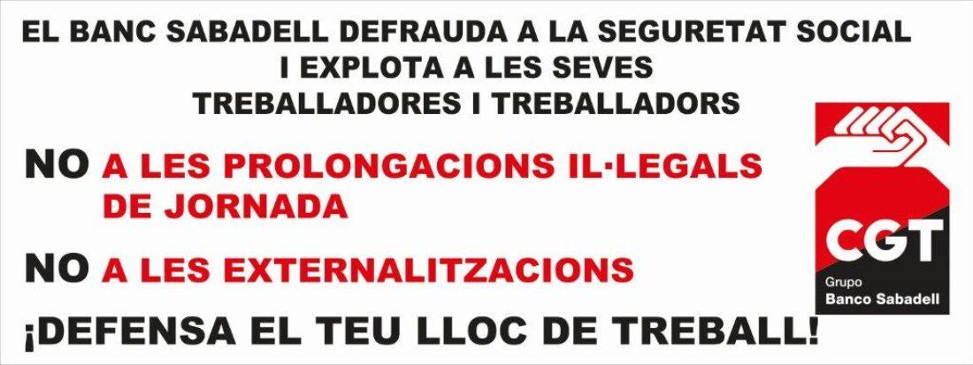 30-S: CGT se movilizará contra las externalizaciones y las prolongaciones ilegales de jornada y en defensa de los lugares de trabajo en el Banco Sabadell